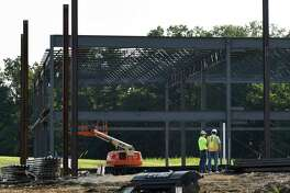 Monolith Solar's new headquarters in the Vista Technology Campus is under construction on Friday, Aug. 24, 2018, in Slingerlands, N.Y. (Will Waldron/Times Union)
