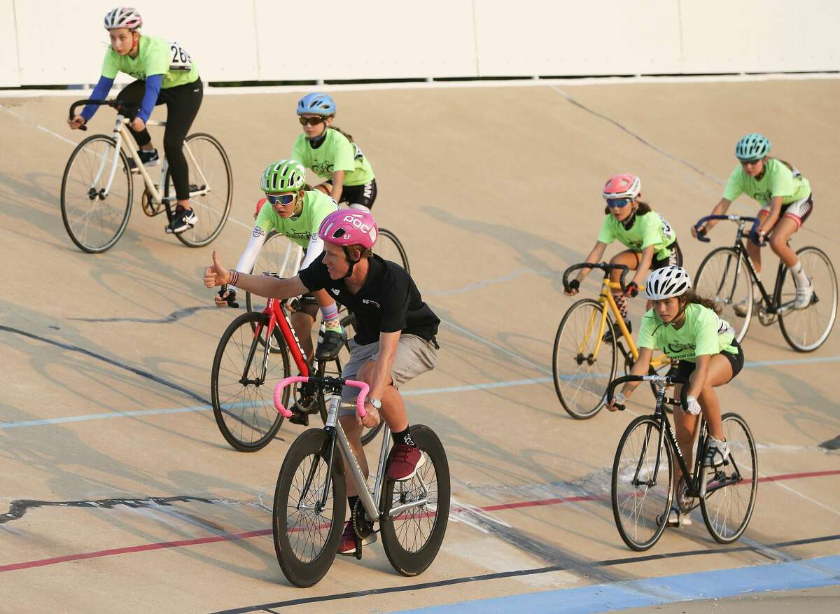 2018 Tour de France competitor Lawson Craddock, leads off a lap with competitors at an event at Alkek Velodrome which was damaged from Harvey on Friday, Aug. 24, 2018 in Houston. Craddock turned his accident on the first day of the tour into a motivation for raising money for the velodrome, where he first started cycling.