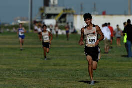 Andrews' Derik Lujan finishes fifth in the Division 1 Boys race of the Tall City Invitational Aug. 25, 2018, at the Rock The Desert grounds. James Durbin/Reporter-Telegram