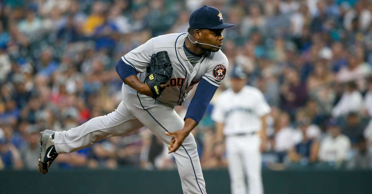 Houston Astros pitcher Framber Valdez follows through on a pitch against the Seattle Mariners during the second inning of a baseball game Tuesday, Aug. 21, 2018, in Seattle. (AP Photo/Jennifer Buchanan)