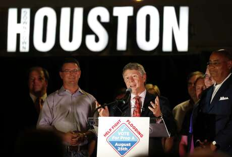 Harris County Judge Ed Emmett speaks during the Proposition A-County Flood Bond election watch party at Jackson Street BBQ, Saturday, August 25, 2018, in Houston. Proposition A is a $2.5 billion bond proposal to help finance a 10- to 15-year program of flood mitigation projects including improved drainage, upgraded warning systems, home buyouts, and construction of more storm water detention basins.