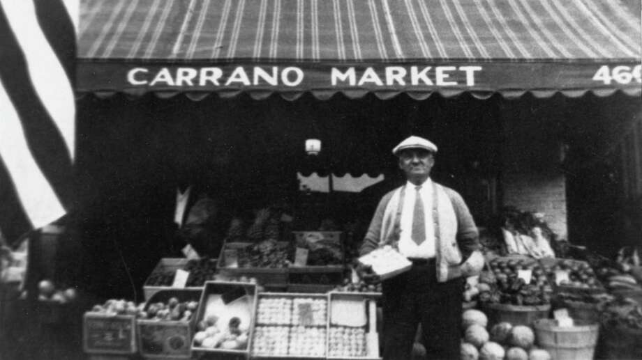 Matteo Carrano, Frank Carrano's father, in front of Carrano Market on Chapel Street, probably in the 1950s. Photo: Contributed Photo / Frank Carrano