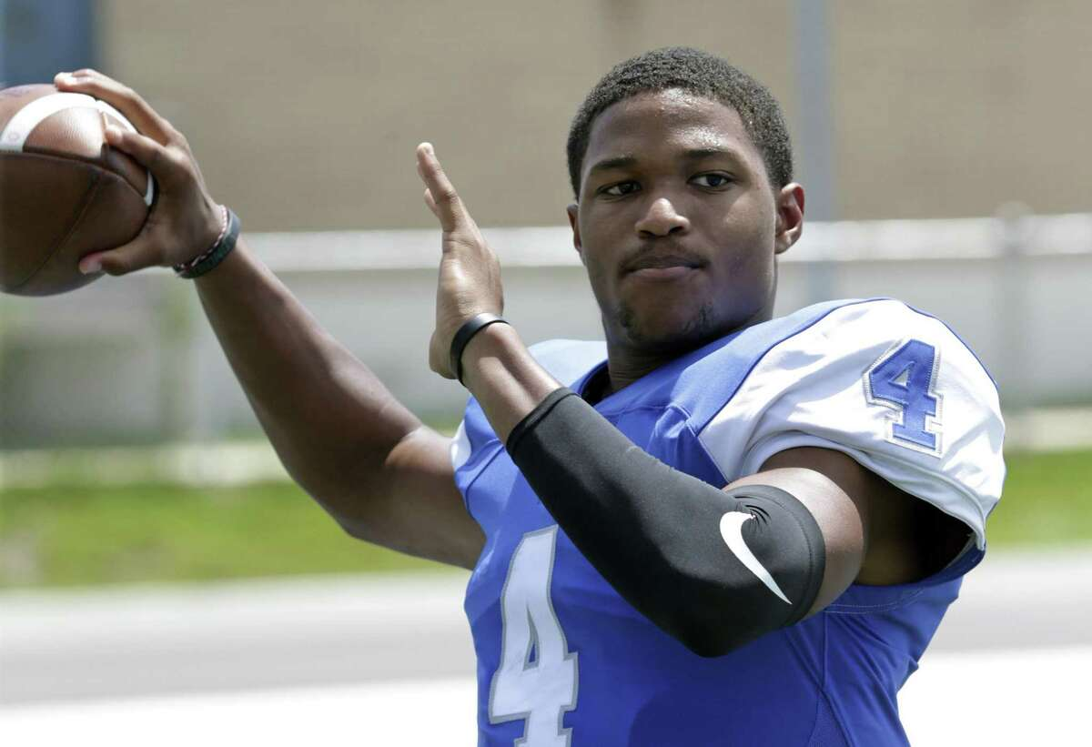 Jay High School football player Jacob Zeno, quarterback, on August 15, 2018.
