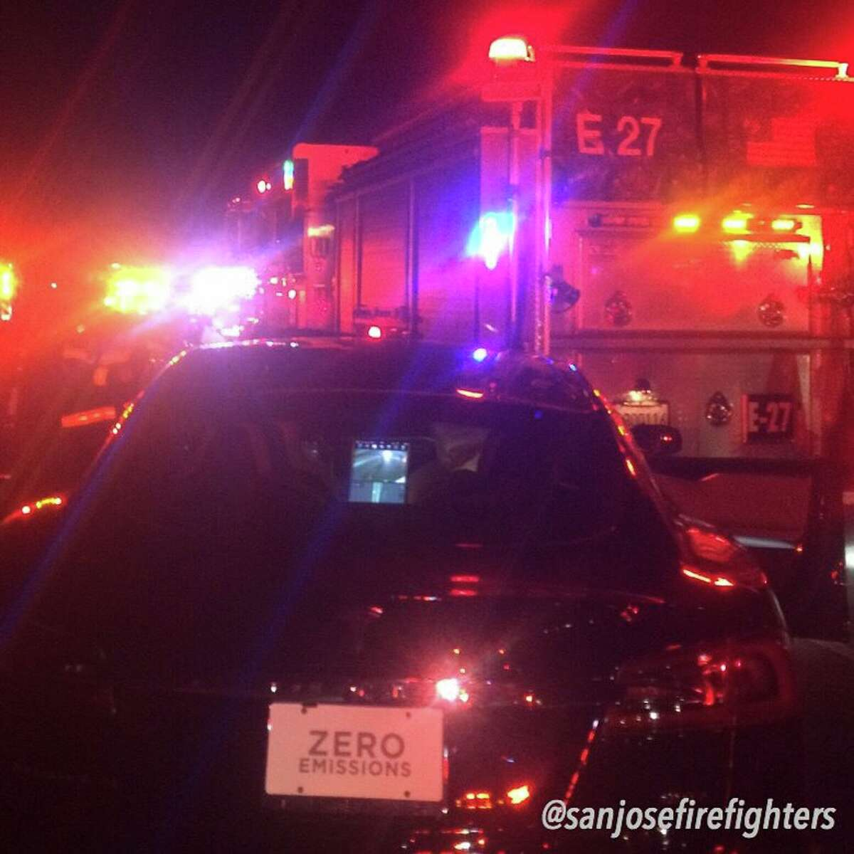 For the second time in recent months San Jose Fire Fighters narrowly escaped serious injury. This time a Tesla