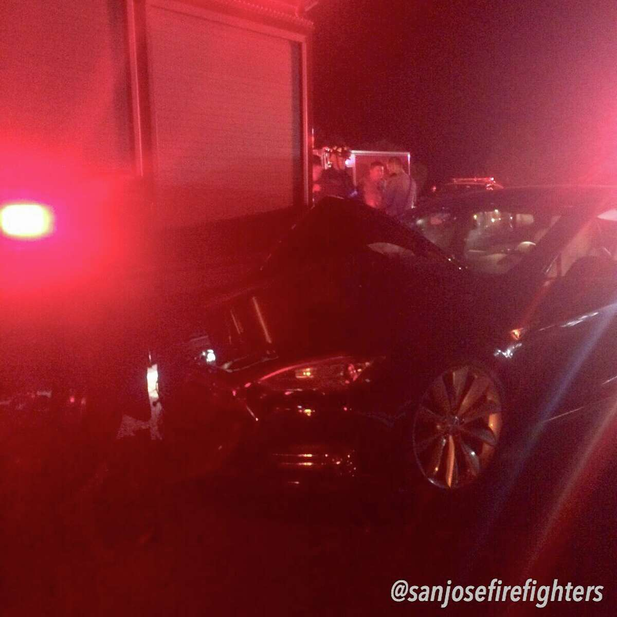 A 37-year-old Monterey man was arrested on suspicion of driving under the influence after he crashed his Tesla sedan into the back of a San Jose Fire Department engine early Saturday morning, according to the California Highway Patrol.