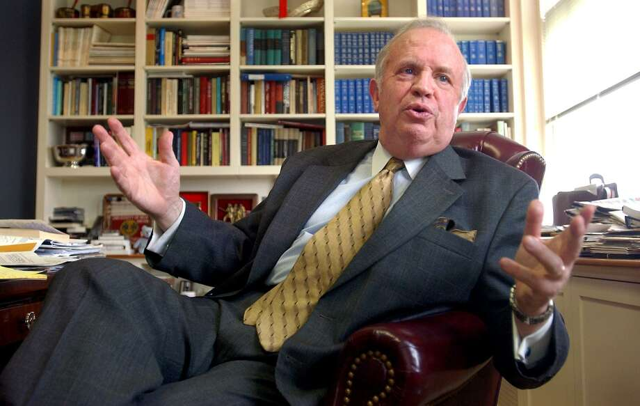 University of New Haven president Lawrence DeNardis in his office in 2003. Photo: Arnold Gold / Hearst Connecticut Media