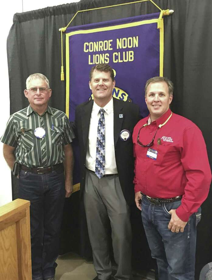 It was the 'Mike & Mike' show Wednesday at the Conroe Noon Lions Club as retired Extension Agent Mike Heimer, left and Horticulturist Mike Potter, right, updated the club on the seasonal happenings; also pictured center, club President Bobby Brennan.
