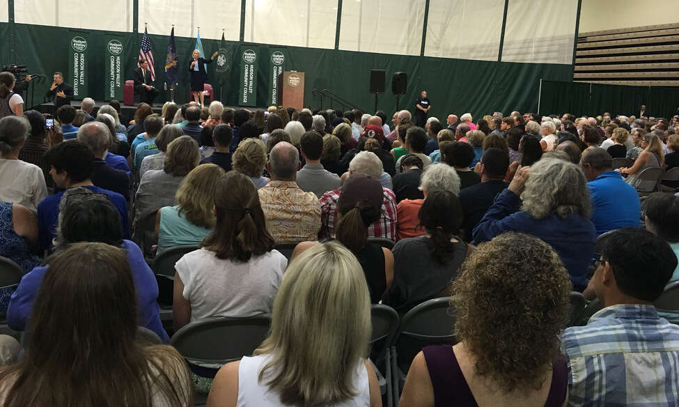 A crowd of about 500 people attend a town hall meeting Sunday Aug. 26, 2018, at Hudson Valley Community College hosted by U.S. Sen. Kirsten Gillibrand.
