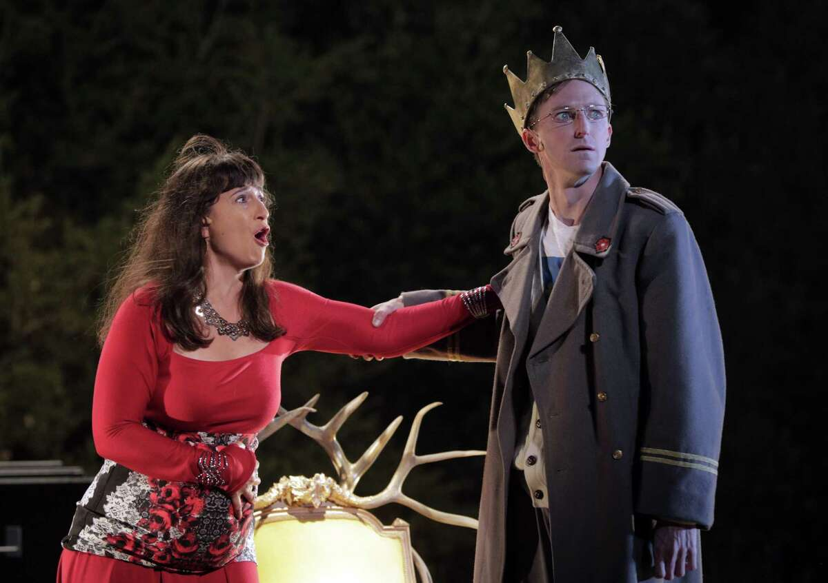 """Aysan Celik (left) and Joseph Patrick O'Malley perform in """"The War of the Roses."""" O'Malley makes Henry VI painfully ripe for overthrow with tremulous voice and owlish eyes."""