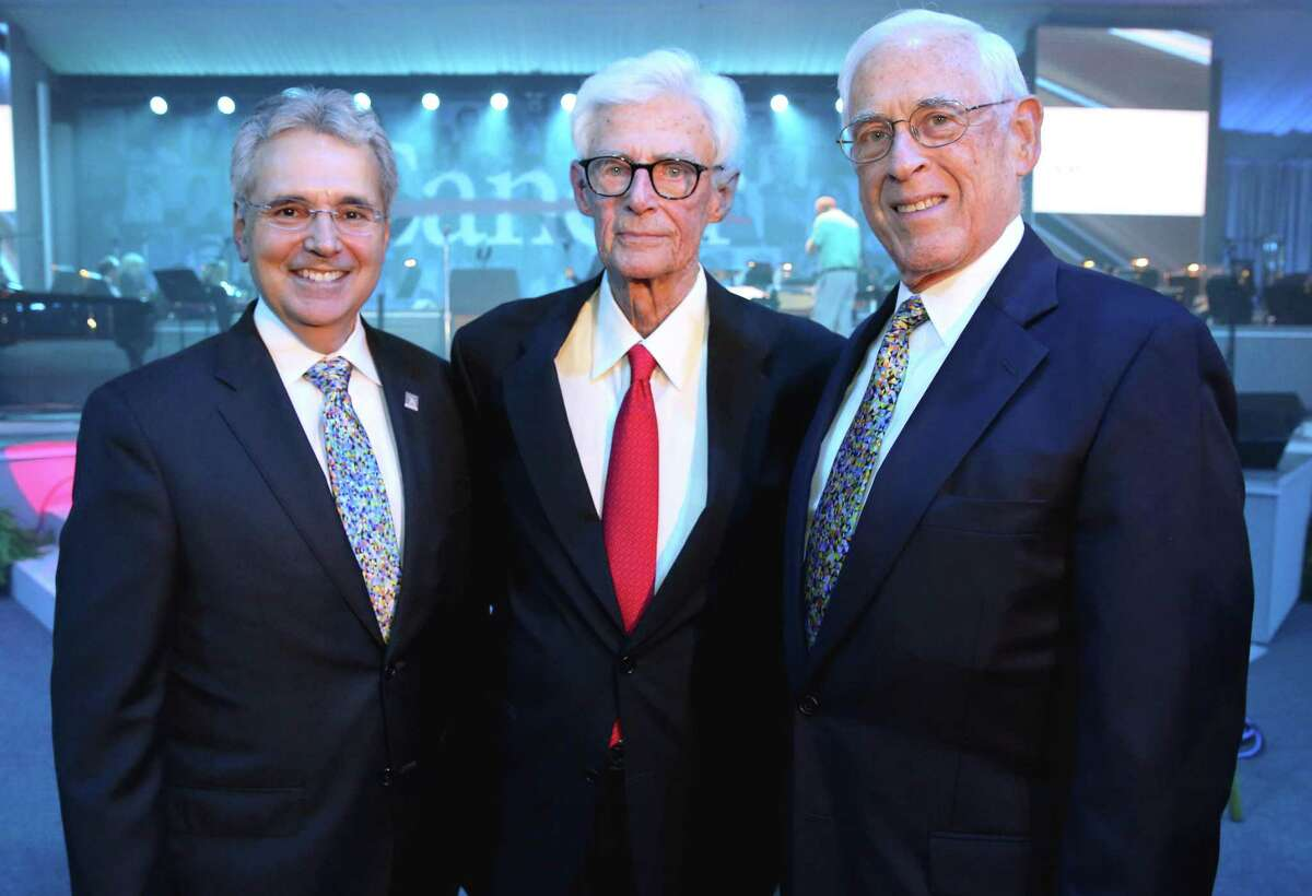 Dr. Ronald DePinho, left, president of University of Texas MD Anderson Cancer Center, Dr. Charles LeMaistre and Dr. John Mendelsohn pose for a photo before the 75th Anniversary Gala of Thursday, Nov. 10, 2016, in Houston. LeMaistre and Mendelsohn were MD Anderson's second and third presidents, respectively. (Yi-Chin Lee / Houston Chronicle )