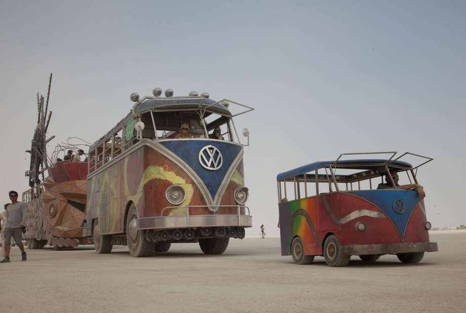 "Early arrivals to Burning Man take part in ""Build Week"" ahead of the main event, showing some of the work, art setup and mutant cars that arrive on the playa before most attendees. Photo: Sidney Erthal"
