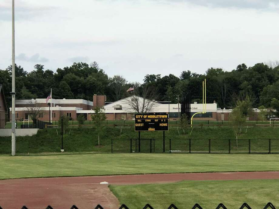 The view from Jerome Levin Field, looking toward the football field at Woodrow Wilson Middle School. Photo: Paul Augeri / For Hearst Connecticut Media
