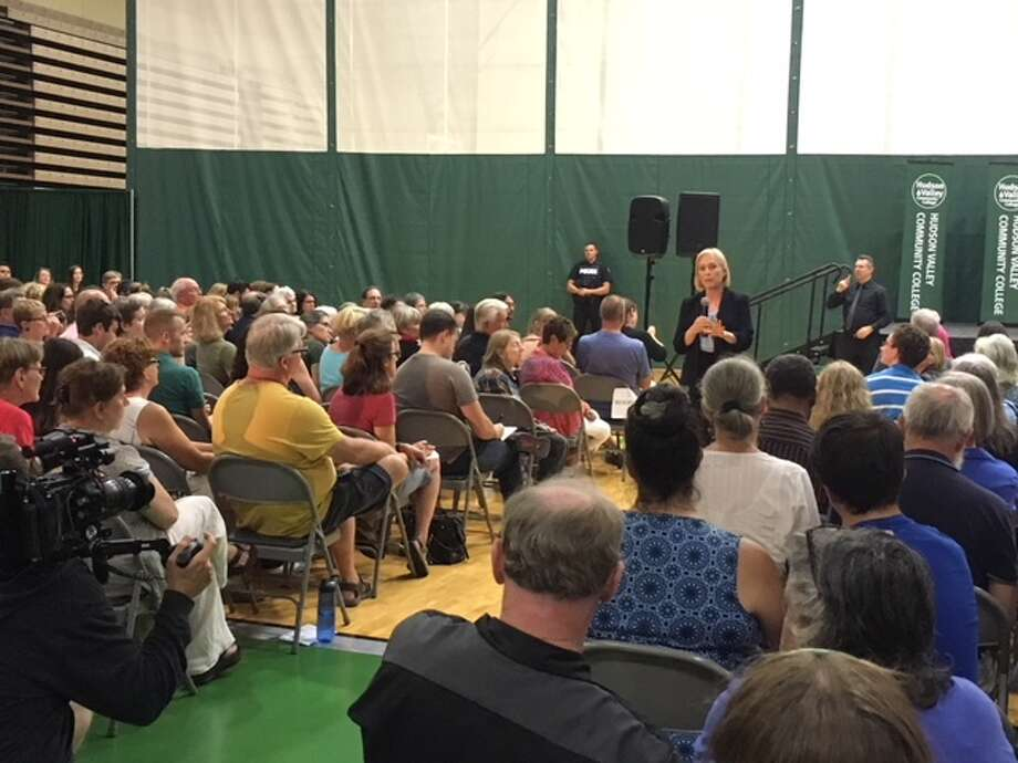 U.S. Senator Kirsten Gillibrand answered random questions on everything from President Donald Trump to guns at a Town Hall at Hudson Valley Community College on Sunday. (Wendy Liberatore/Times Union) Photo: Wendy Liberatore/Times Union