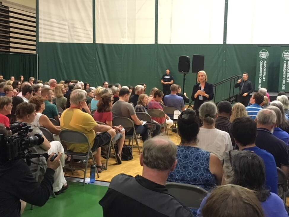 U.S. Senator Kirsten Gillibrand answered random questions on everything from President Donald Trump to guns at a Town Hall at Hudson Valley Community College on Sunday. (Wendy Liberatore/Times Union)