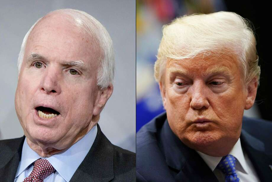 This combination of pictures created on August 24, 2018 shows US Senator John McCain and US President Donald Trump. - One of John McCain's final wishes, as he struggled against a devastating brain cancer, could not have been more clear: He made it known that he did not want Donald Trump to attend his funeral. US senator John McCain, a celebrated war hero known for reaching across the aisle in an increasingly divided America, died Saturday after losing a battle to brain cancer, his office said. He was 81. Photo: BRENDAN SMIALOWSKI, AFP/Getty Images
