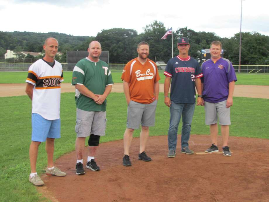 The Tri-State Baseball League inducted five new members before its championship series last week. Left to right: Jim Mischke, Darren Gould, Marc DiDominzio, Kyle Weaver, Ryan McDonald. Photo: Peter Wallace / For Hearst Connecticut Media