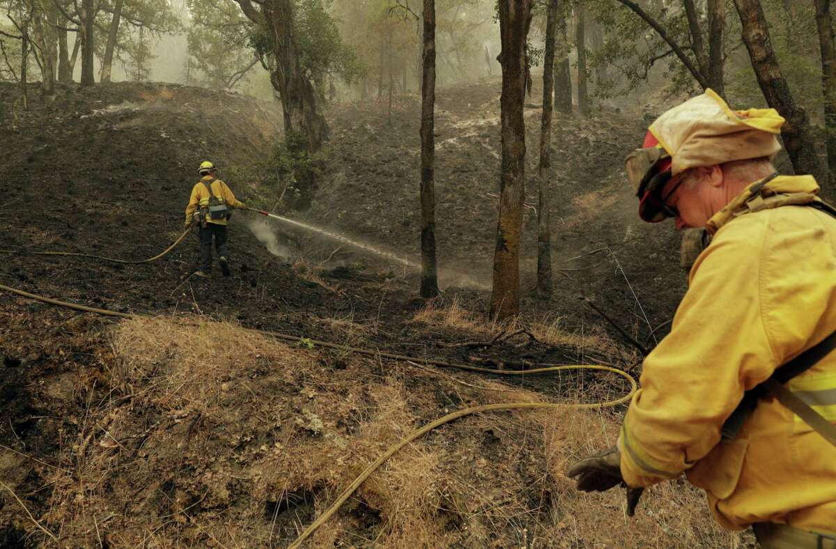 Firefighters tend to hotspots in a back-burned area of the Mendocino National Forest that was burned in the Mendocino Complex Fire near Ukiah on Tuesday, August 14, 2018. The U.S. Forest Service reported on Thursday, August 16, 2018, that the Mendocino Complex Fire burned 197,000 acres of the Mendocino National Forest.