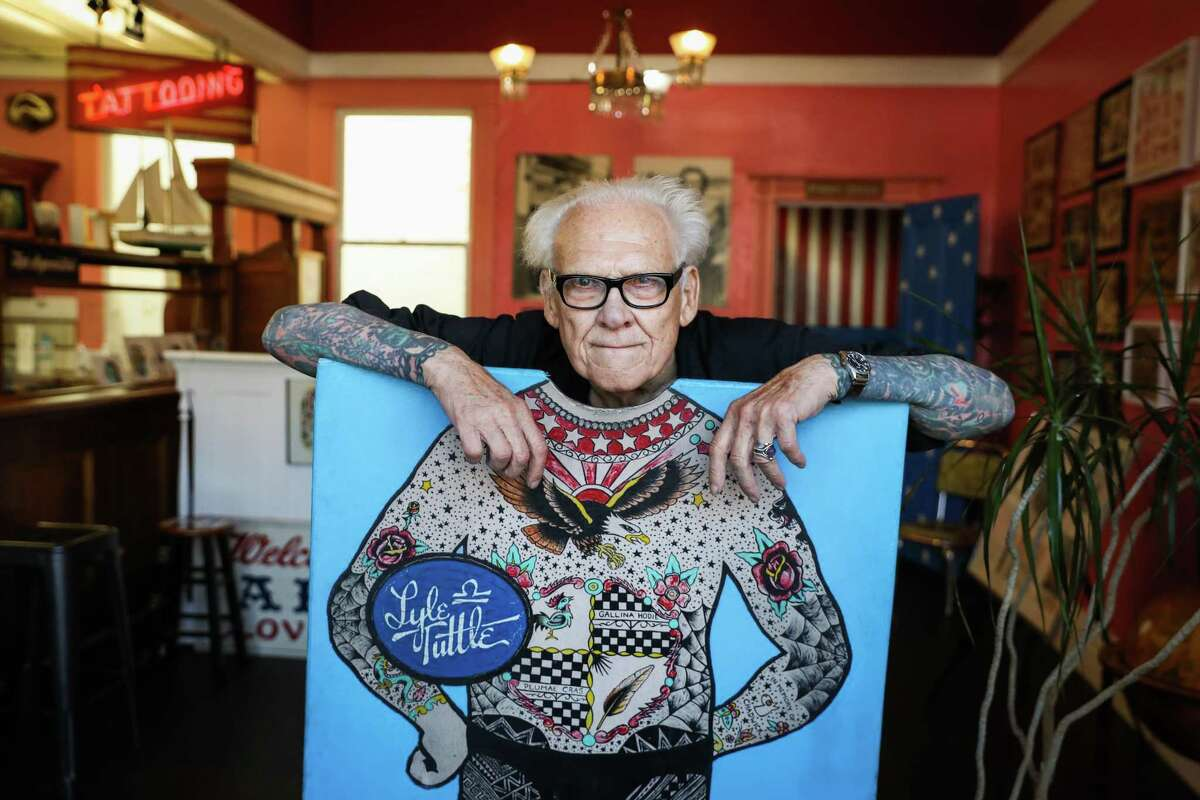 Tattoo artist Lyle Tuttle poses for a portrait at Lyle Tuttles Tattoo Studio and Museum in San Francisco on Tuesday, Aug. 14, 2018.