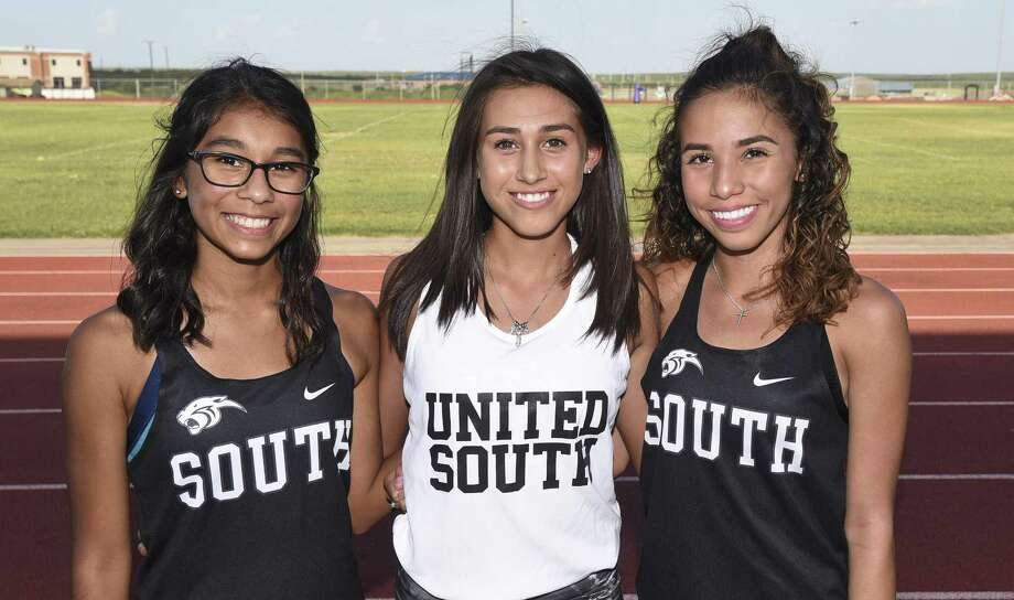 Cristina Benavides, Giselle Aguilar and Julissa Garza helped United South finish in second place at the Border Olympics to open the second season under head coach Christina Tristan. Photo: Danny Zaragoza /Laredo Morning Times / Laredo Morning Times