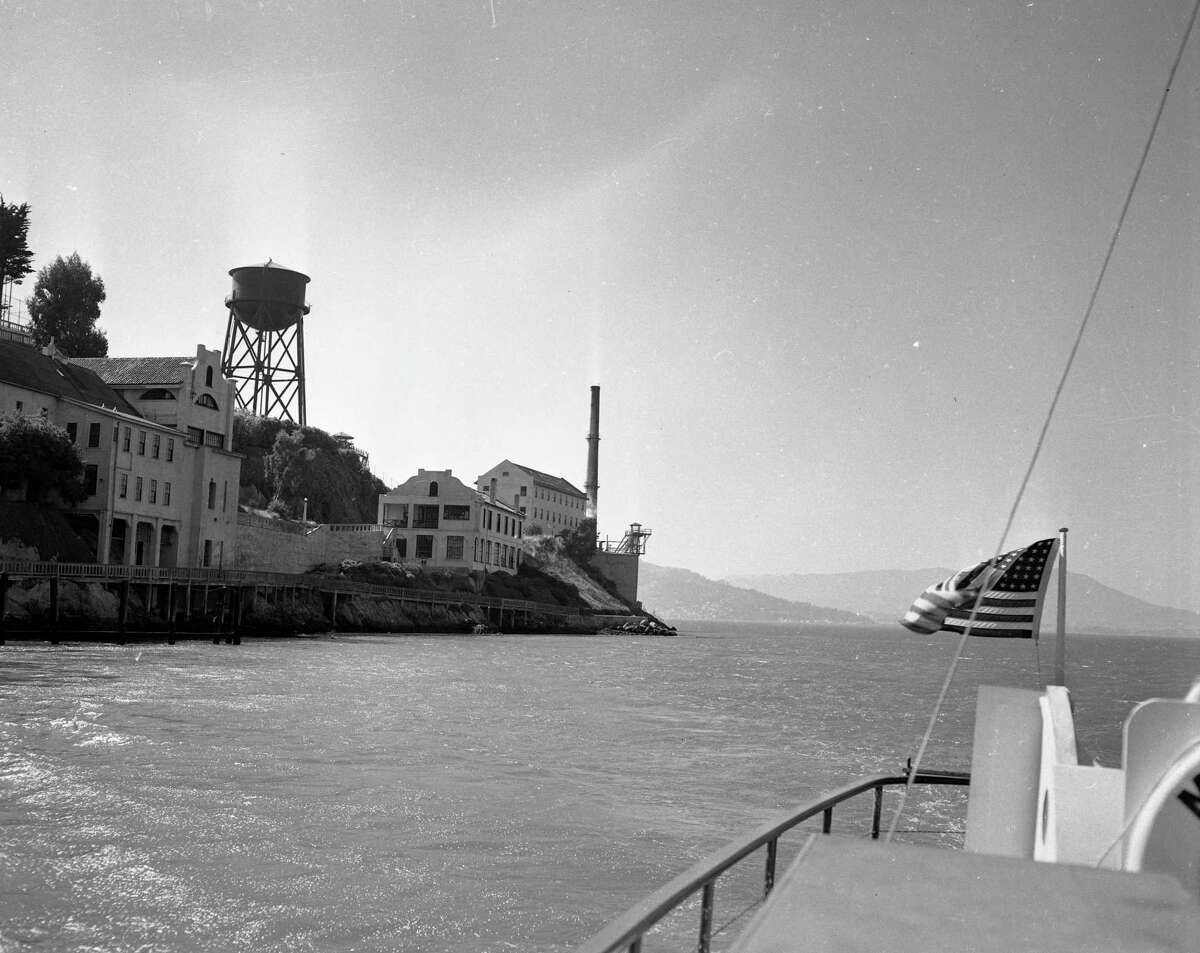 Alcatraz seen from the east as a boat approaches the island on Sept. 3, 1952.