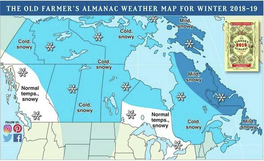 An above-normal level of snowfall is predicted for all of Canada this winter. Prepare the sleds and snowplows! (Old Farmer's Almanac)