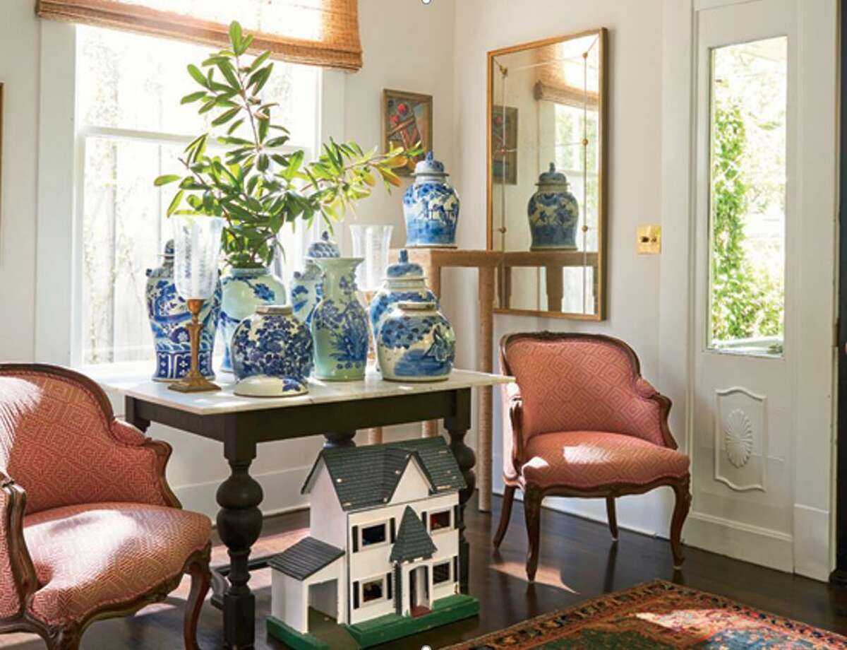 Collections: Meg Lonergan loves to show collections of a handful of items together. This group of blue and white bases are in her own home.