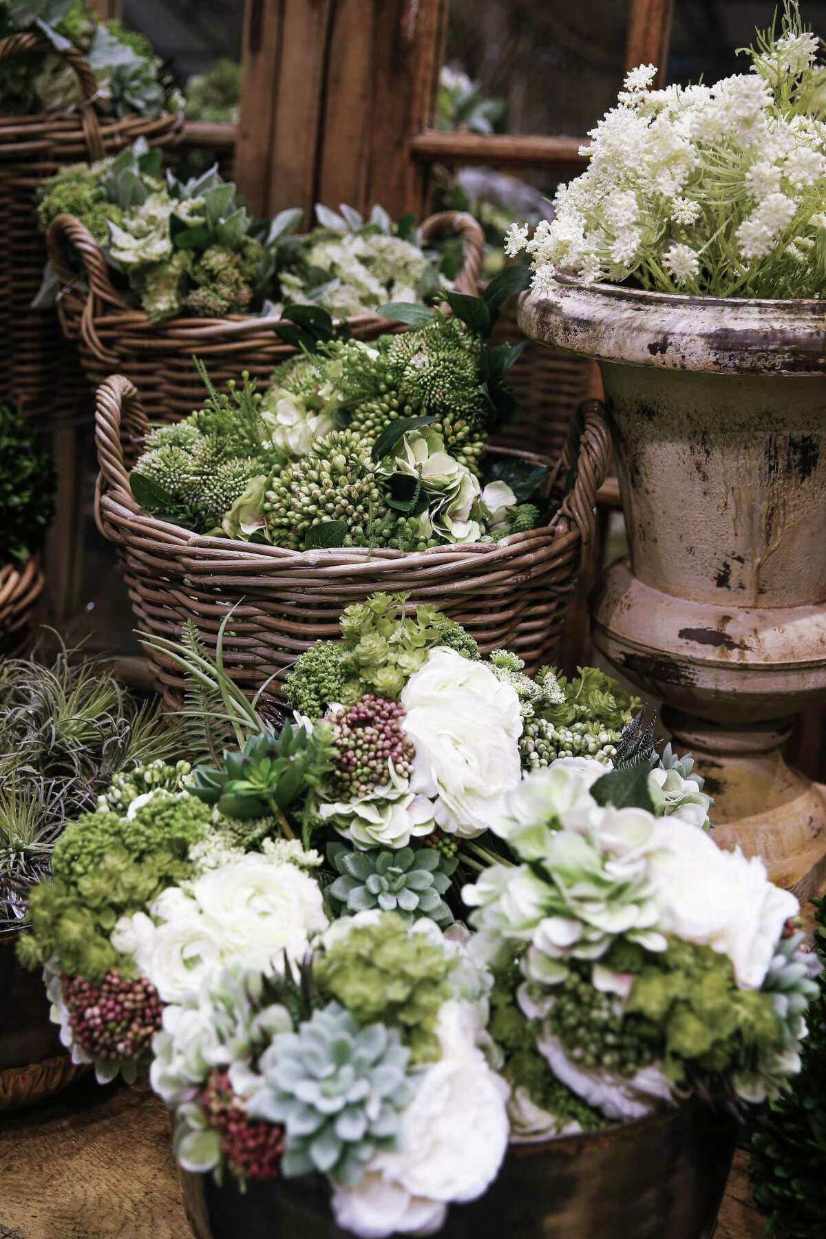 Fake flowers sit on display in Kuhl-Linscomb's faux flower department Wednesday Aug. 22, 2018 in Houston. With permanent botanicals becoming increasingly realistic, interior designers are relying more heavily on them than ever.
