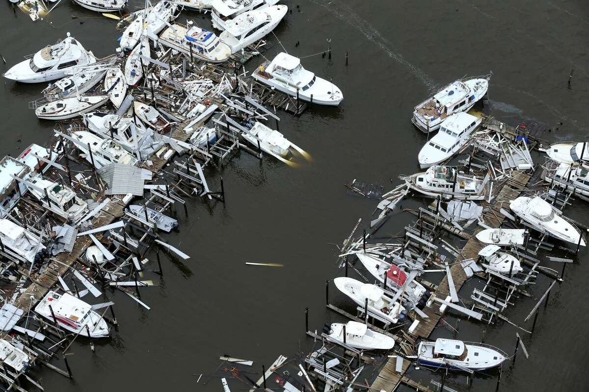 Storm-damaged boats at the Key Allegro marina in Rockport, Texas are seen in this Sunday, Aug. 25, 2017 aerial photo. Hurricane Harvey made landfall late Friday night in Rockport as a Category 4 storm.