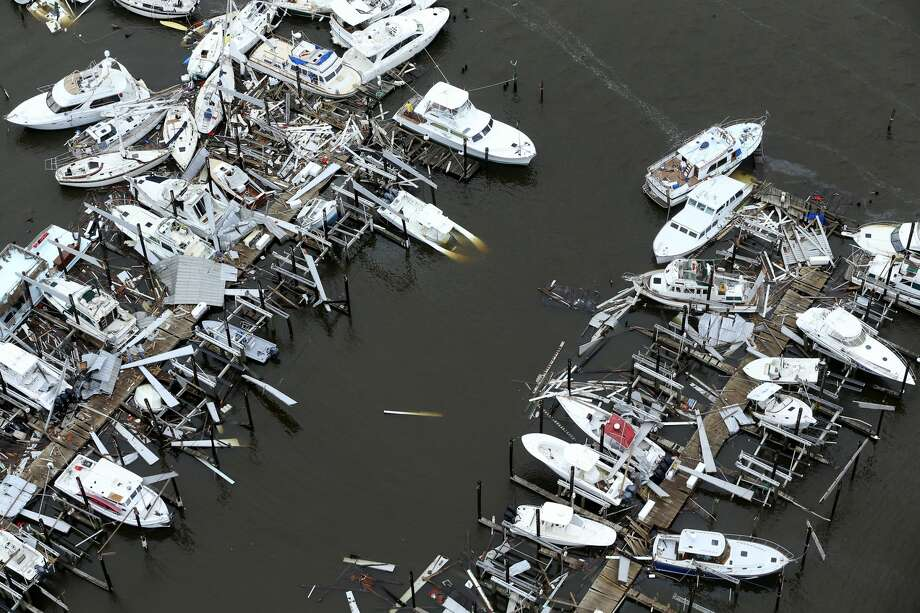 Storm-damaged boats at Key Allegro Marina in Rockport, Texas can be seen in this aerial photo on Sunday, August 25, 2017. Hurricane Harvey landed late in the night in Rockport as a Category 4 storm. Photo: William Luther / San Antonio Express News