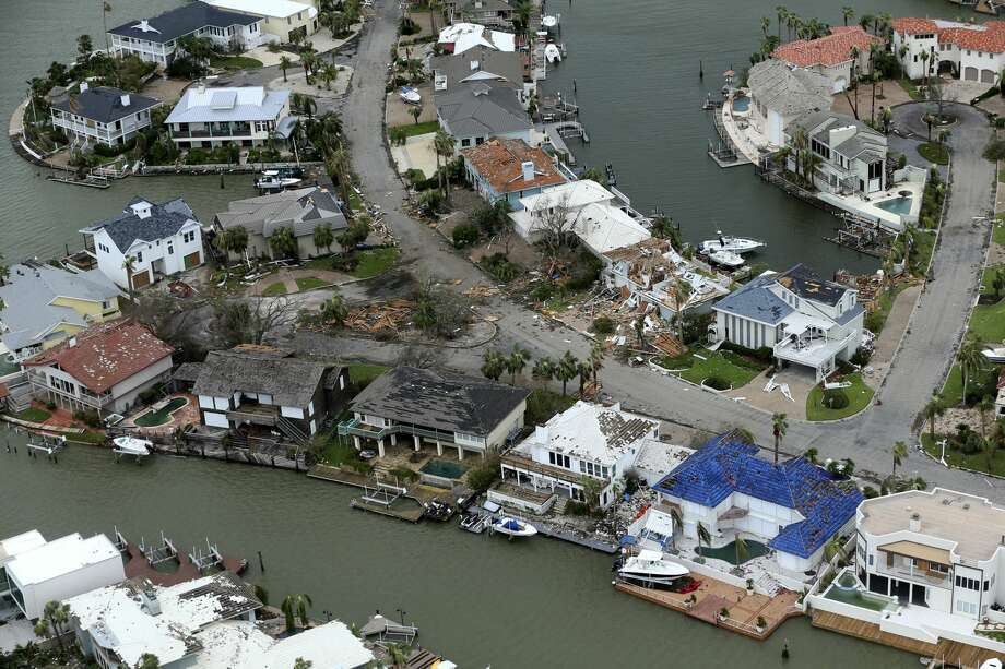 A storm-damaged Rockport, Texas homes in the Key Allegro neighborhood are seen this Sunday, August 25, 2017 aerial view. Hurricane Harvey landed in Rockport late Friday night as a Category 4 storm. Photo: William Luther / San Antonio Express News
