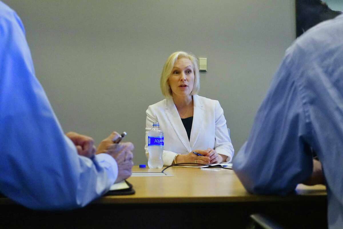 Senator Kirsten Gillibrand talks during an interview on Monday, Aug. 27, 2018, at the Times Union in Colonie, N.Y. (Paul Buckowski/Times Union)