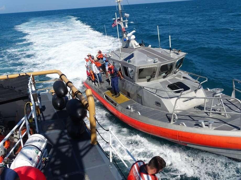 Coast Guard crews saved 17 people from a flooding fishing boat on Aug. 24, 2018 near South Padre Island. Photo: U.S. Coast Guard