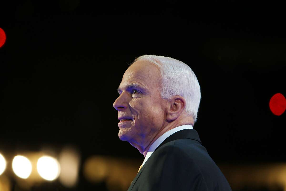 FILE -- Sen. John McCain (R-Ariz.) on the final day of the 2008 Republican National Convention in St. Paul, Minn., Sept. 4, 2008. McCain's death has led to a vacant Senate seat in Arizona. Its governor must navigate a divided Republican Party to appoint a replacement, who will serve until a special election in 2020. (Todd Heisler/The New York Times)