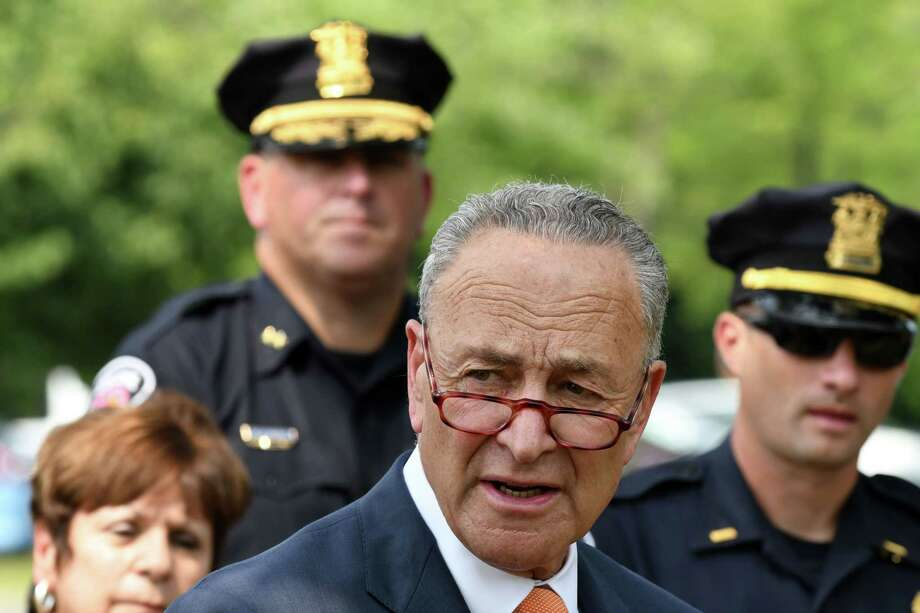 Sen. Charles Schumer speaks during an press conference where he announced his effort to combat the opioid crisis in the Capital Region on Monday, Aug. 27, 2018, at the Colonie Public Safety Building in Colonie, N.Y.  (Will Waldron/Times Union) Photo: Will Waldron, Albany Times Union / 20044653A