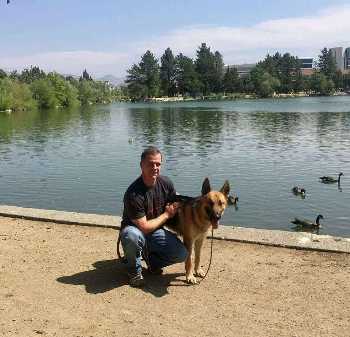 German Shepherd rescued from Mendocino Fire adopted by firefighter who found him.