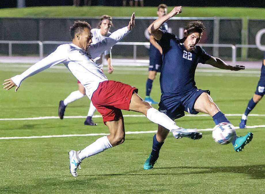 SIUE's Devyn Jambga, left, is the winner of the 2018 Jack Blake Award, the most prestigious individual honor awarded to an SIUE men's soccer player. He is shown in action against Butler. Photo: SIUE Athletics