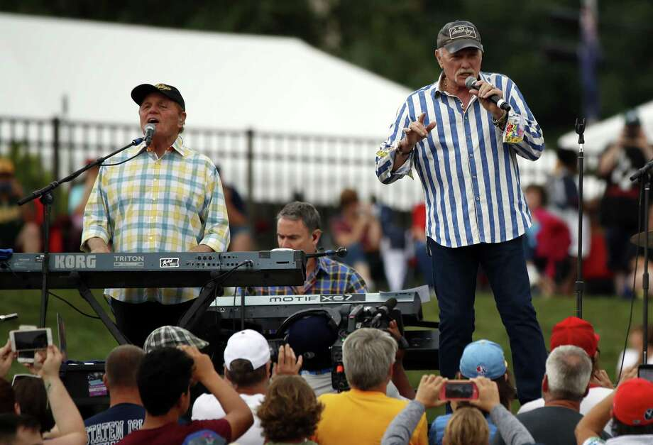 The Beach Boys, including singer Mike Love (right), a founder of the band, and longtime member Bruce Johnston will return to San Antonio in March. Photo: Tom E. Puskar /Associated Press / Copyright 2018 The Associated Press. All rights reserved
