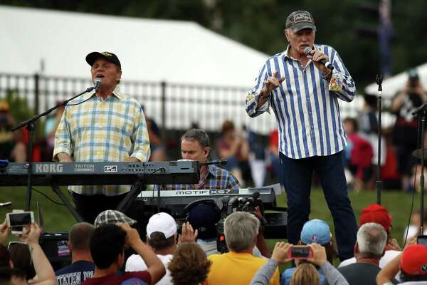 The Beach Boys, including singer Mike Love (right), a founder of the band, and longtime member Bruce Johnston will return to San Antonio in March.