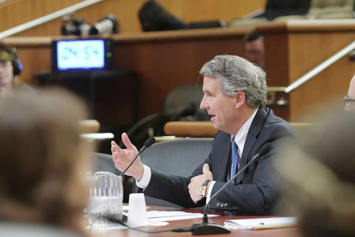 James Milliken, former chancellor of the City University of New York, testifies before the New York State Legislature. Milliken is expected to be confirmed as chancellor of the University of Texas System.