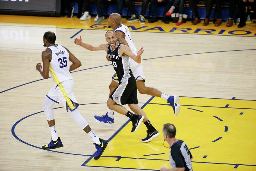 San Antonio Spurs' Manu Ginobili reacts in the third quarter during game 5 of round 1 of the Western Conference Finals at Oracle Arena on Tuesday, April 24, 2018 in Oakland, Calif.
