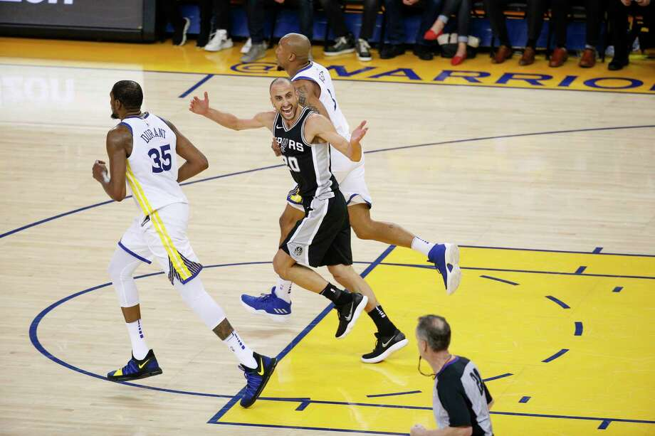 San Antonio Spurs' Manu Ginobili reacts in the third quarter during game 5 of round 1 of the Western Conference Finals at Oracle Arena on Tuesday, April 24, 2018 in Oakland, Calif. Photo: Santiago Mejia, The Chronicle / online_yes