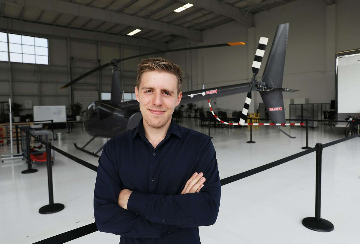 Mark Groden, founder & CEO of SkyRyse, poses for a portrait in the company's hangar in Hayward, Calif., on Thursday, August 23, 2018. SkyRyse is providing technology for helicopters that is a precursor to future autonomous flying aircrafts. It has a contract with the city of Tracy to handle medical emergencies starting next year.