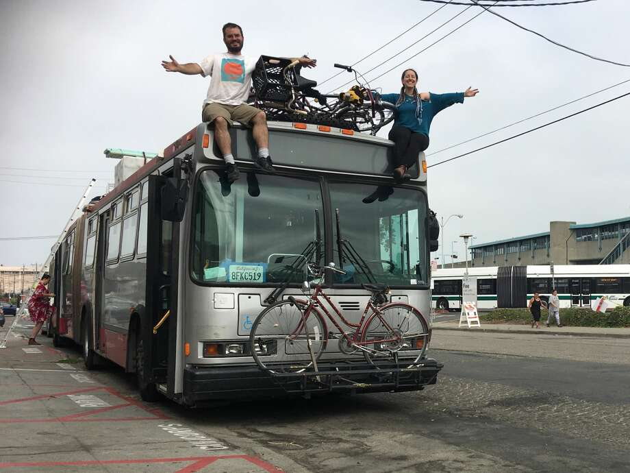 """Clarence """"Sparr"""" Risher and Victoria Dobbs transformed a 60-ft. articulated Muni bus into a seven-person, traveling residence for Burning Man 2018.  Photo: Victoria Dobbs"""