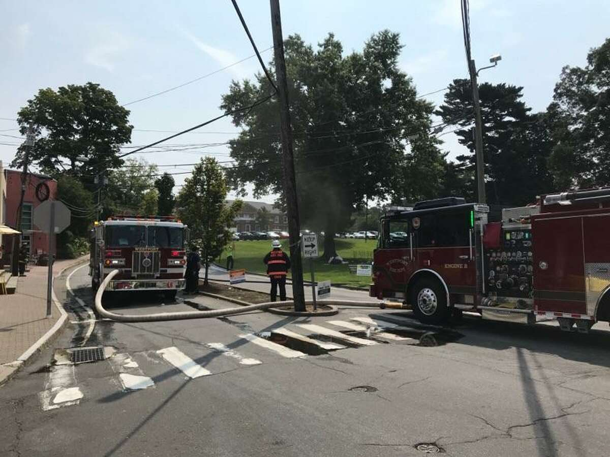 The Westport Fire Department responded to a gas leak after a high-pressure line was ruptured Monday, Aug. 27, 2018. Several buildings were evacuated due to the leak.