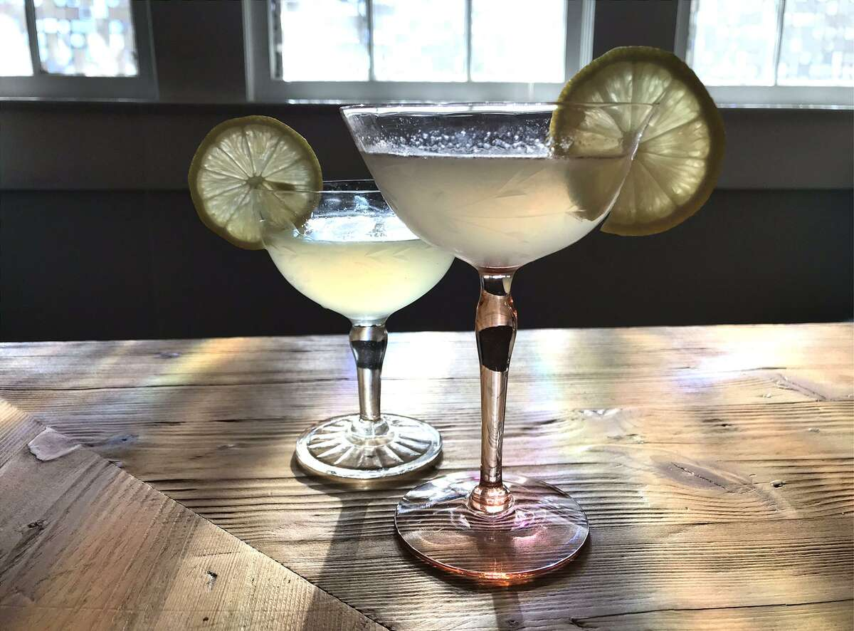 St. George and the Cucumber, left, and St. George and the Basil cocktails