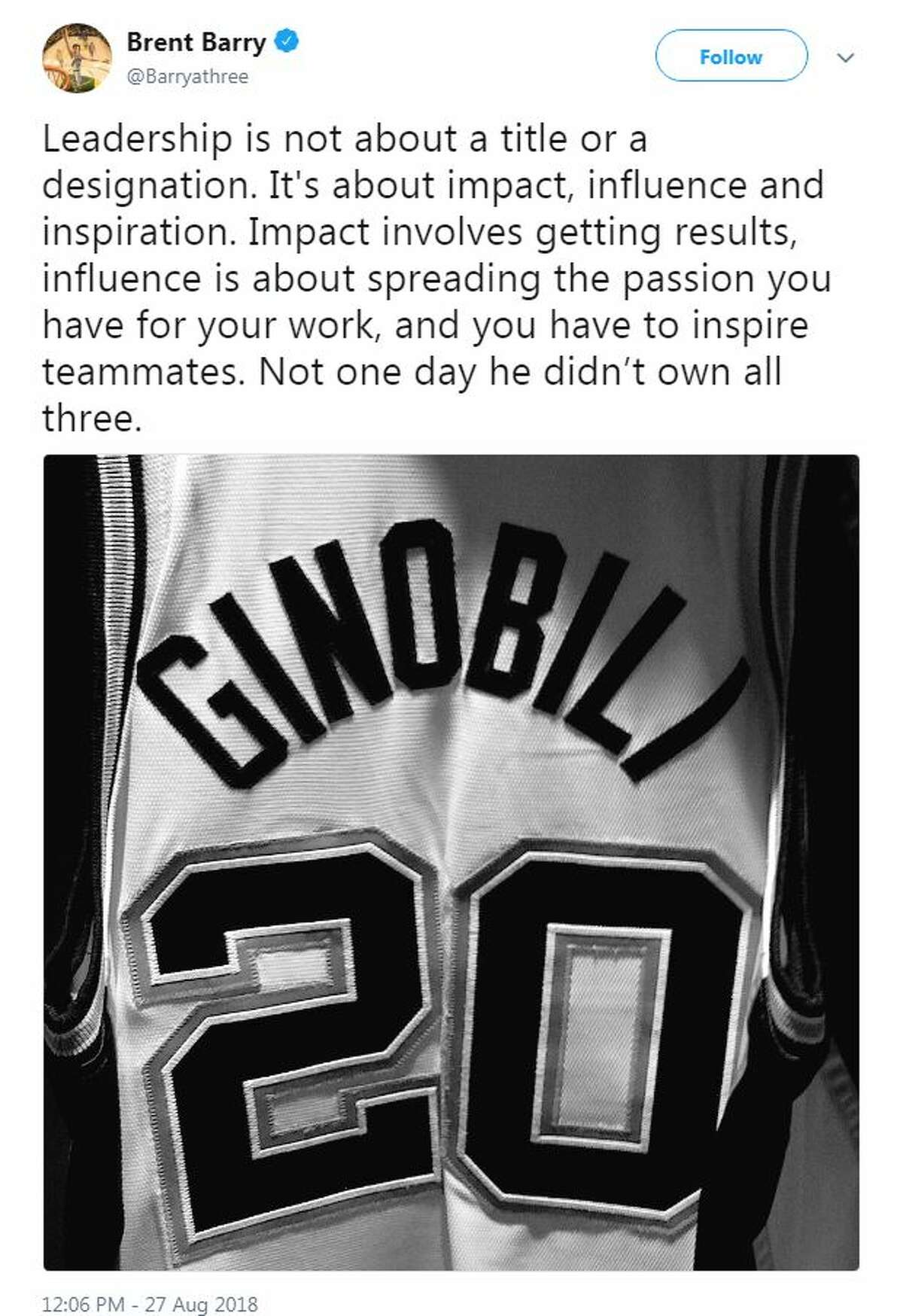 Current and former NBA players showed love for Manu Ginobli after he announced his retirement.