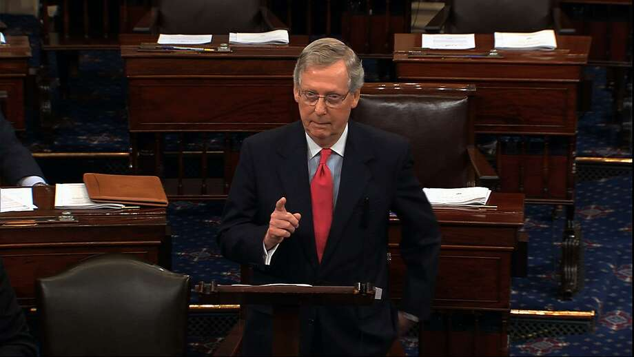 Republican leader Mitch McConnell speaks on the Senate floor July 11, 2013. A reader reminds us of a previous speech, about lies from Bill Clinton, and recommends the majority leader dust it off and use it today. Photo: Associated Press File Photo / Senate Television