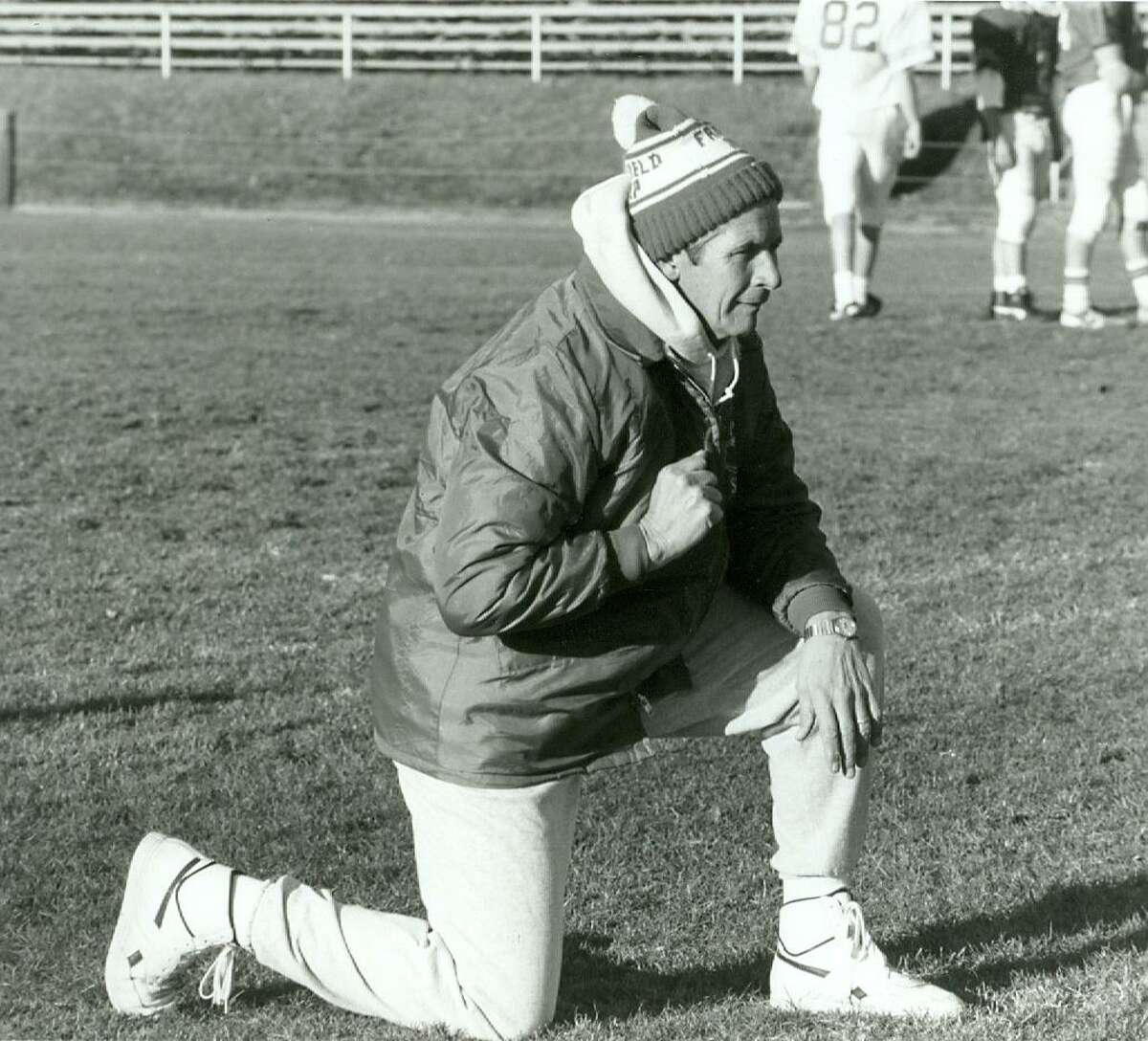 Earl Lavery keeps a keen eye on his Jesuits in this file photo. When he retired, the Fairfield Prep football coach had the most wins in Connecticut history.