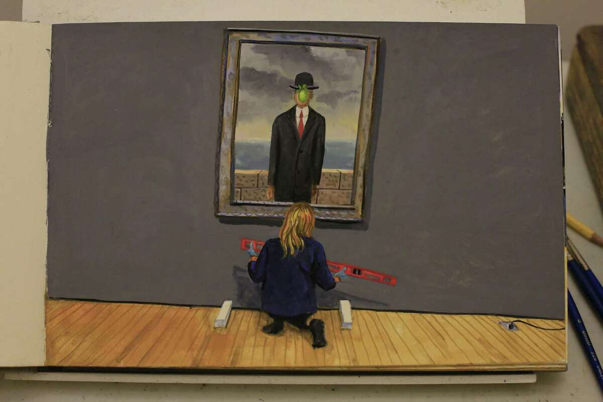 A painting by Rico Solinas, senior museum preparator, from the installation of Magritte's