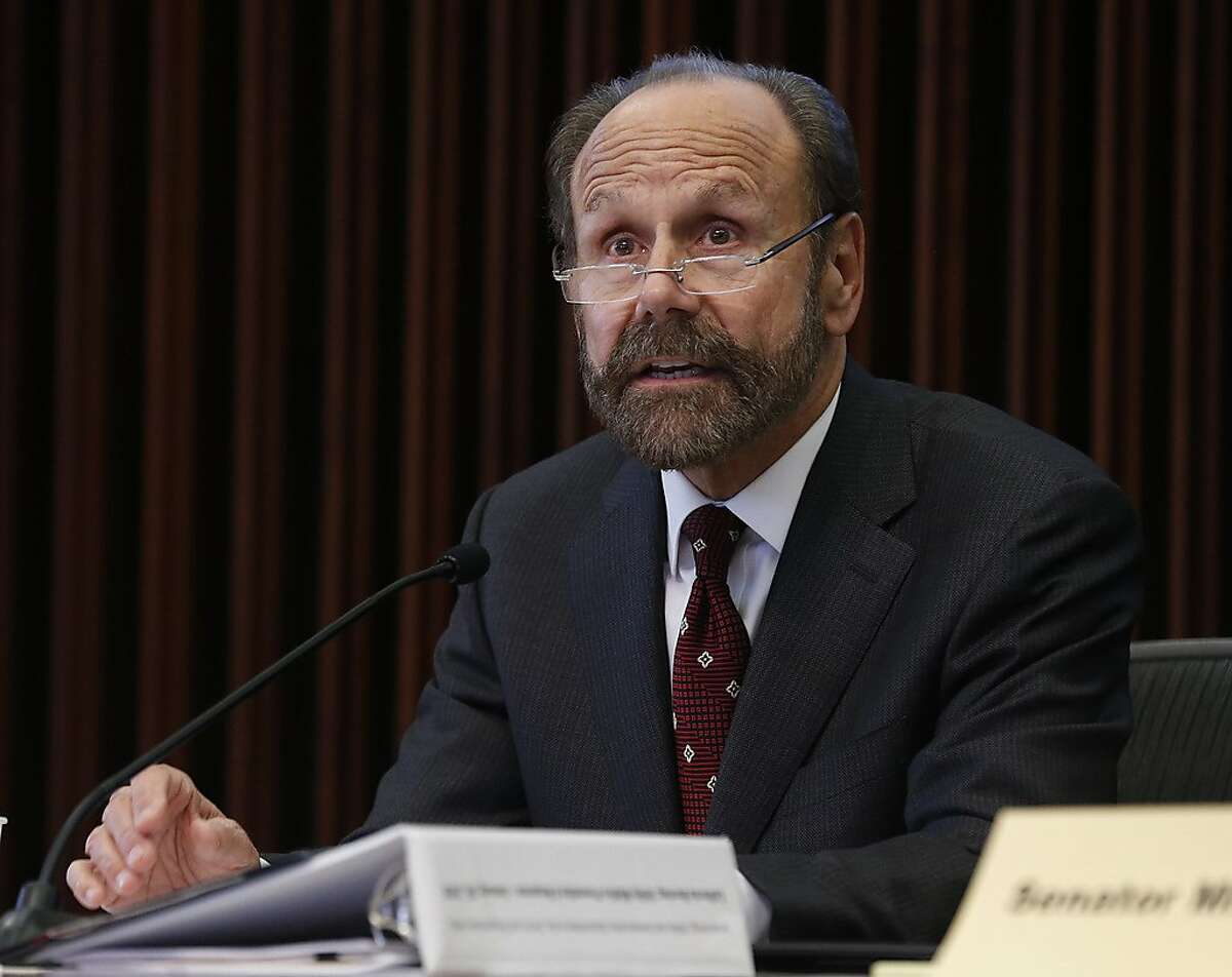 State Sen. Jerry Hill chairs a hearing of the Senate Energy, Utilities and Communications subcommittee on gas, electric and transportation safety in Santa Rosa, Calif. on Friday, Jan. 26, 2018.